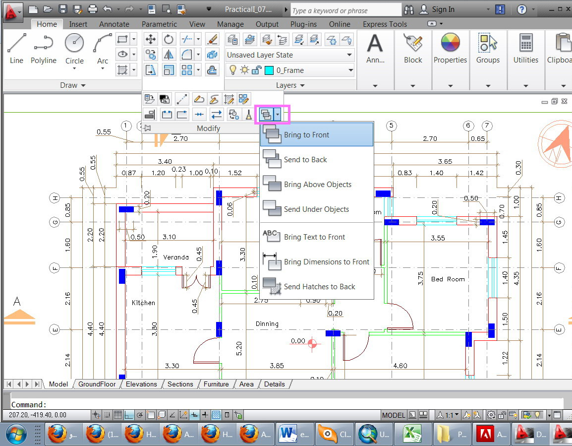 how to bring a layer to the front in autocad