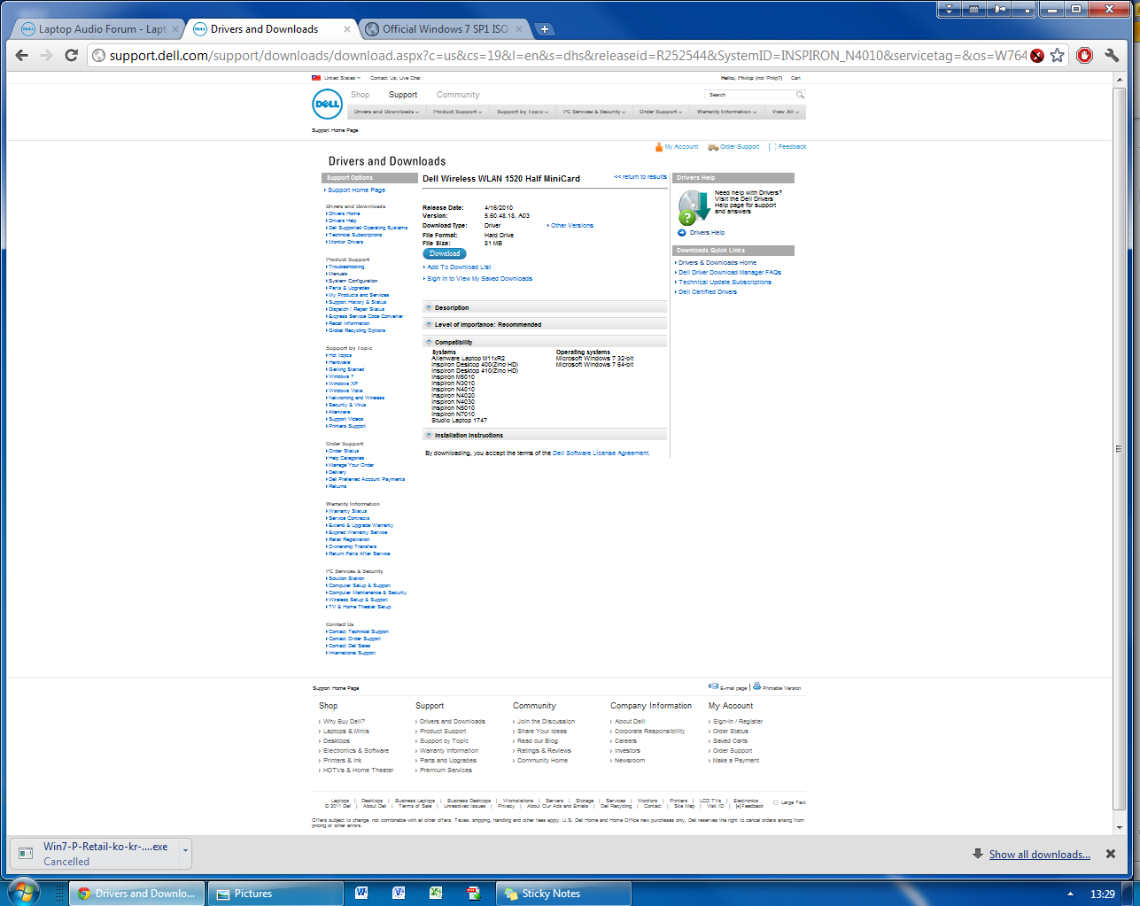 Display And Wi Fi Drivers For Windows 7 32bit Dell Community