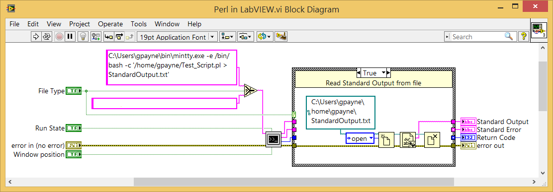 LabVIEW system Mintty bash Perl script output