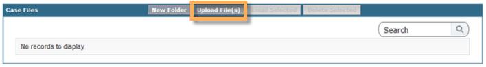 Upload file option inside of Support site.