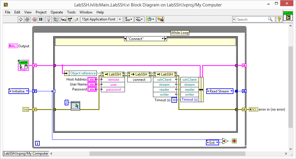 LabVIEW SSH connect