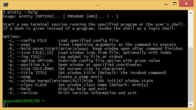 Cygwin Mintty terminal help