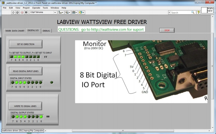 Drive LEDs on 8-bit Digital I/O for WattsView Power Monitor