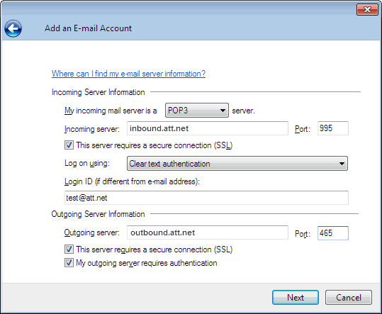 How to set up att.net email in outlook