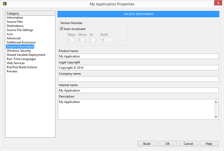 Application Version Information properties