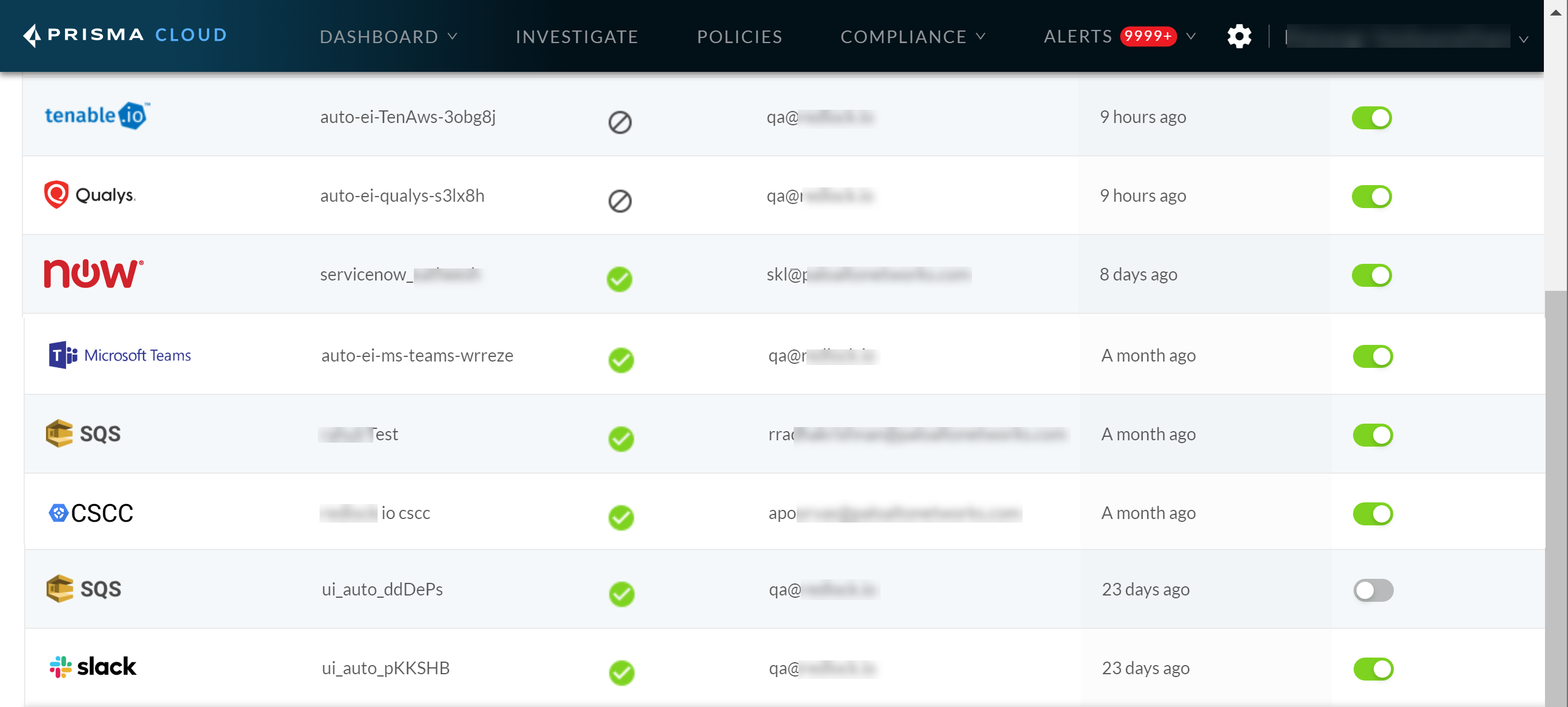 View of Prisma Cloud administrator console with integration status checks