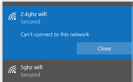 PC can't connect to 2 4Ghz network but can to 5Ghz    - AT&T