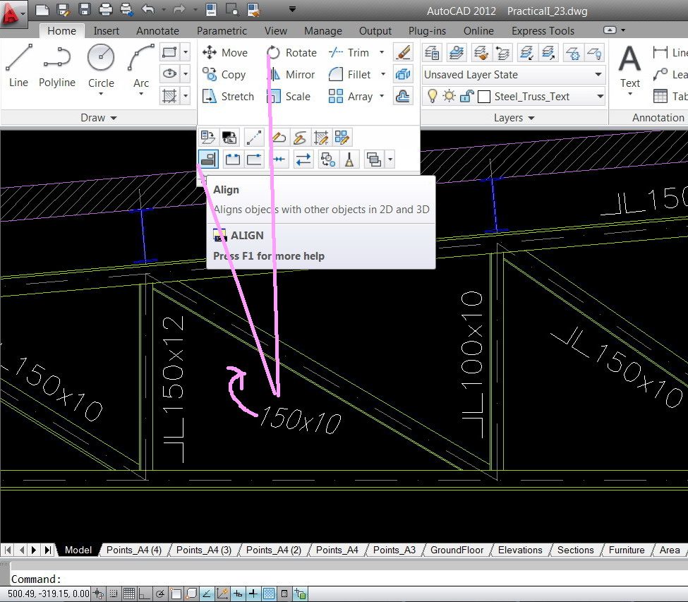 "Line Drawing In Autocad : How to get the ""text or ""block parallel a particular"