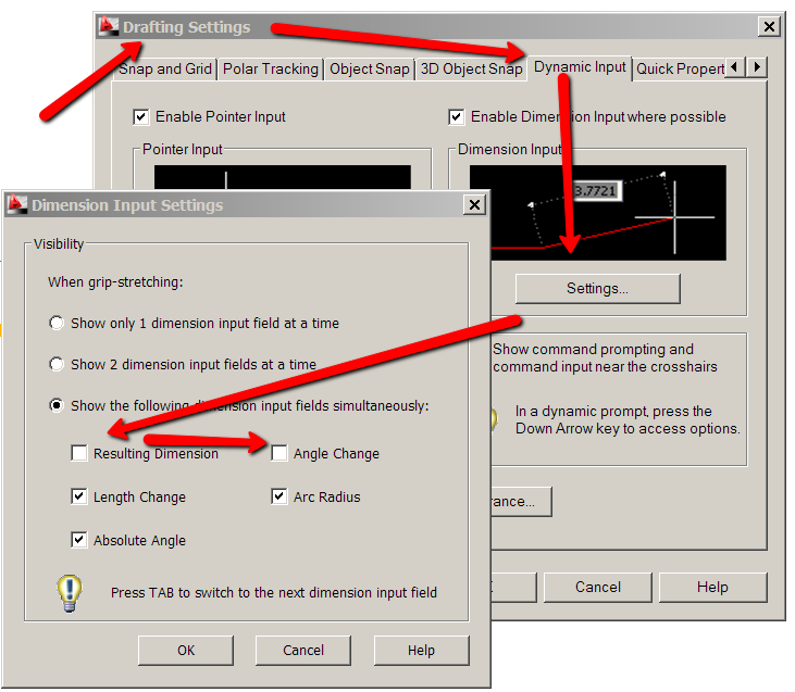 how to turn off dynamic input in autocad