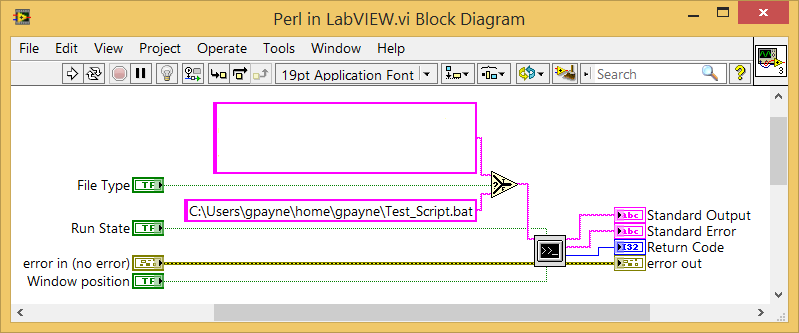 LabVIEW system exec batch file Perl script